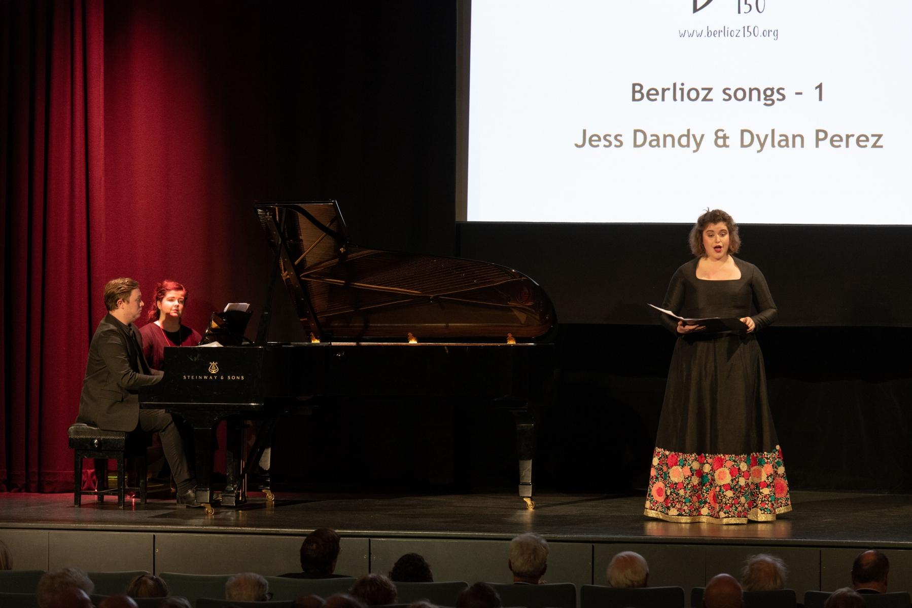 Jess Dandy performs with Dylan Perez on piano, at the Berlioz 150 Anniversary event
